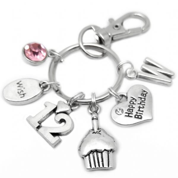 12th Happy Birthday Cake Keyring Personalised Gift For 12 Year Old
